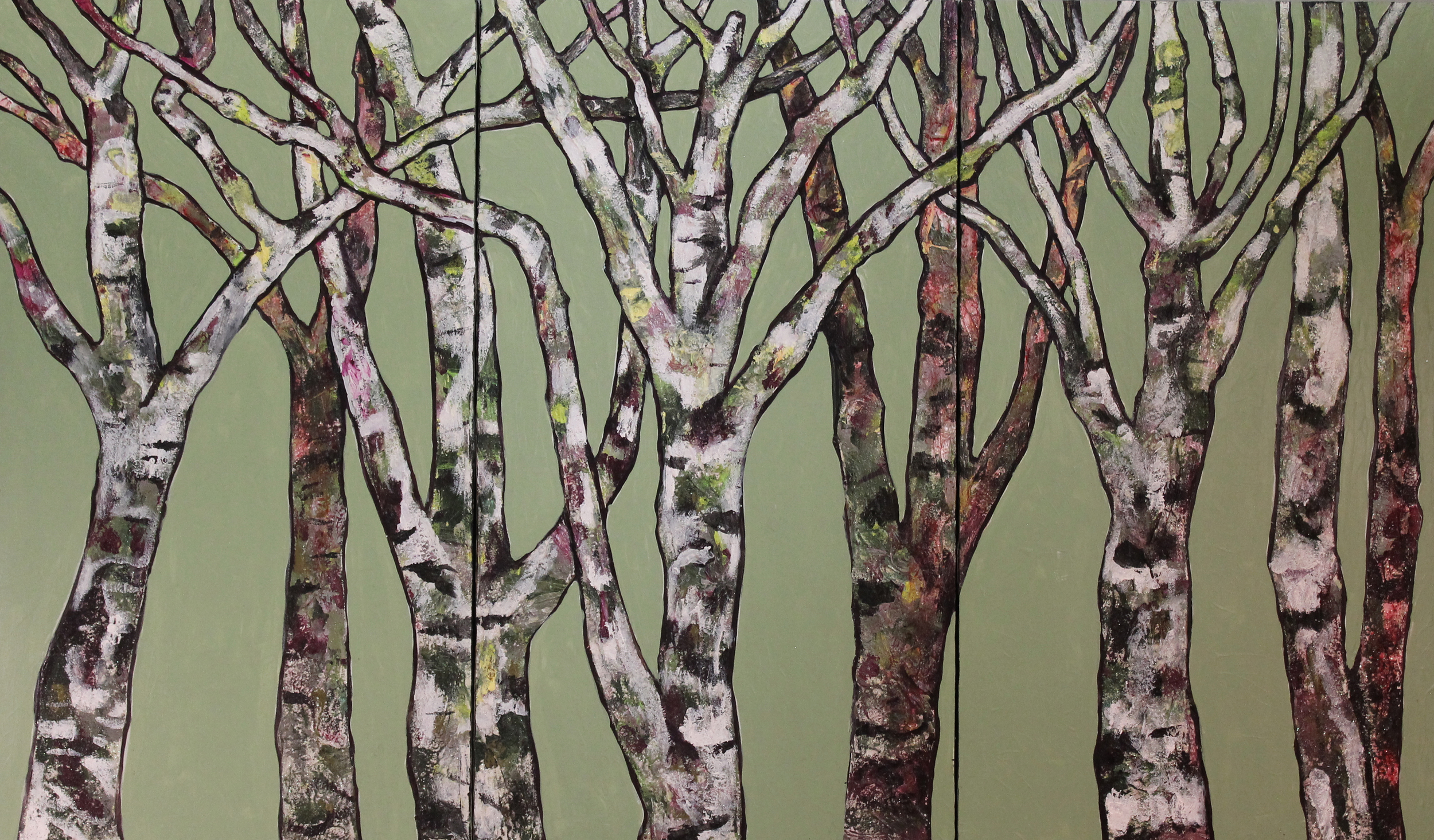 "Triptych, Birch Trees on Green   Acrylic on Recycled Wooden Door 30"" x 51"" (30""x17"" each panel) © 2013"