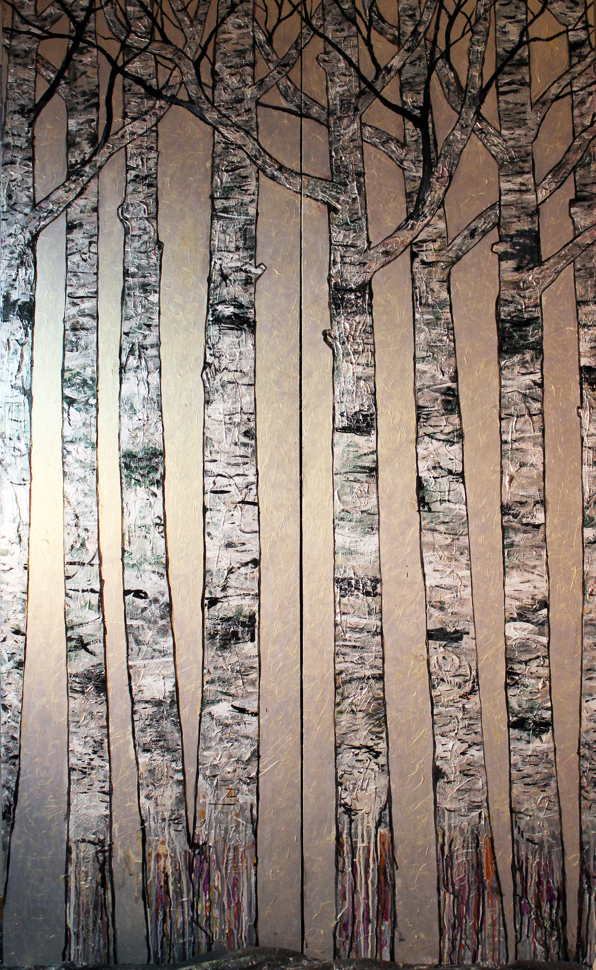"Birch Trees on Silver Gold   Acrylic on Cradled Recycled Wood Panels 76"" x 48"" (76"" x 24"" ea.)  ©2013 Private Collection"