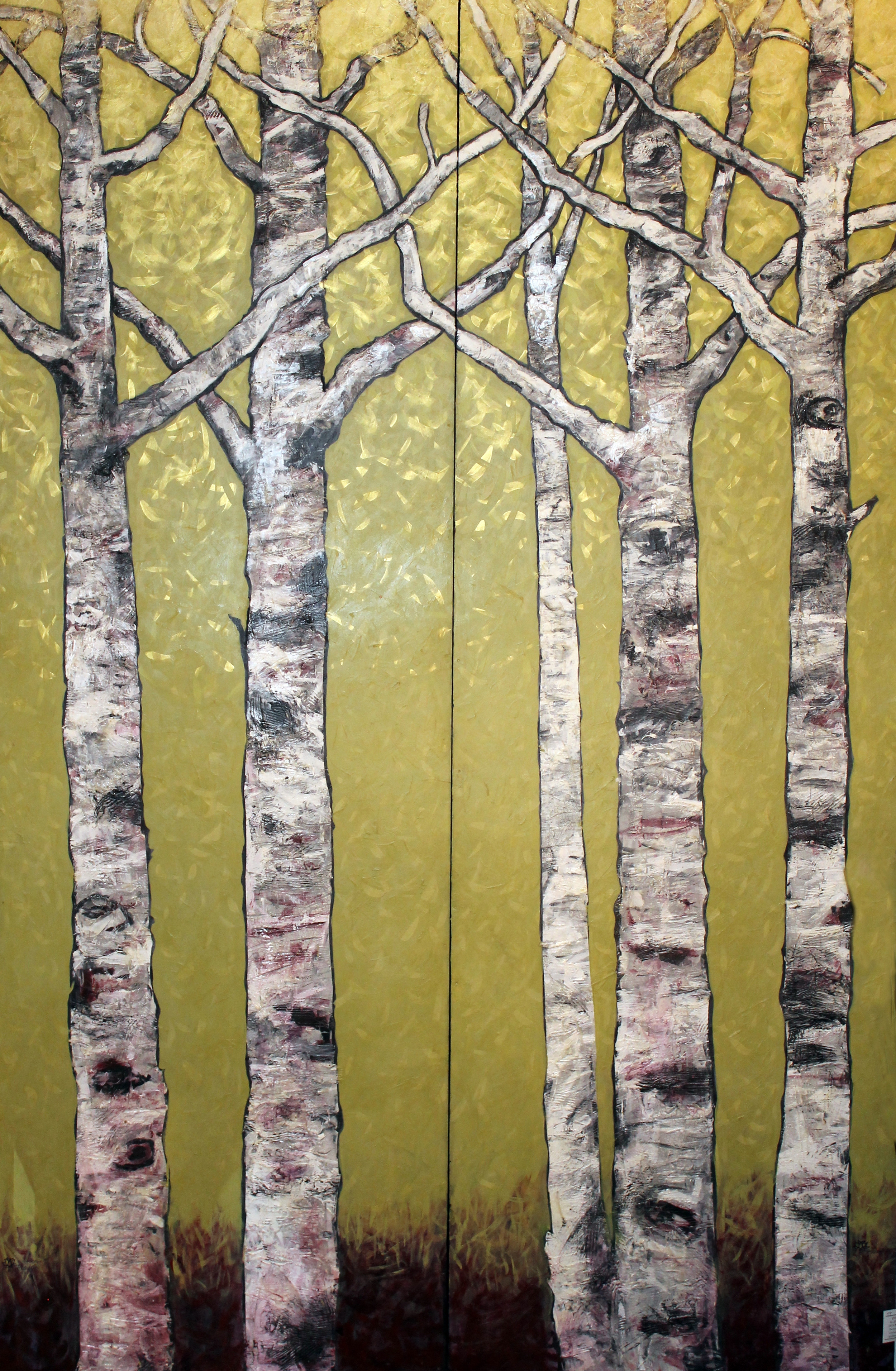"Birch Trees on Wasabi Green, #2    Acrylic on Cradled Recycled Wood Panels 76"" x 48"" (76"" x 24"" ea.)  © 2013"