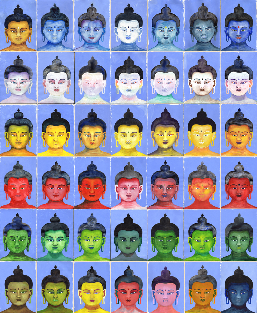 """35 Buddhas and 7 Medicine Buddhas    Watercolor and Gouache on Paper 70"""" x 60"""" overall (11.50"""" x 8.25"""" each) © 2011-2012"""