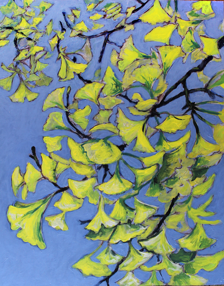 Gingko In Autumn    Acrylic on Cradled Wood Panel ©2012 Private Collection