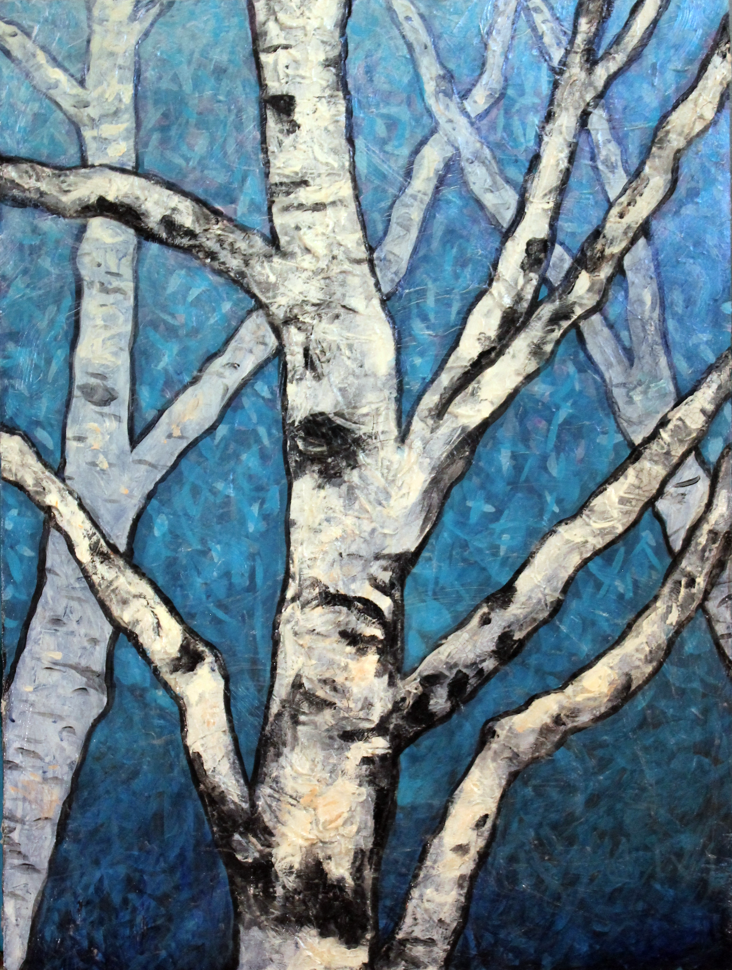 "Jamison Park Birch Trees on Sky Blue    Acrylic on Cradled Recycled Wood Panels 30"" x 24""  © 2014  inquire at   www.huntgather.com   fo pricing"