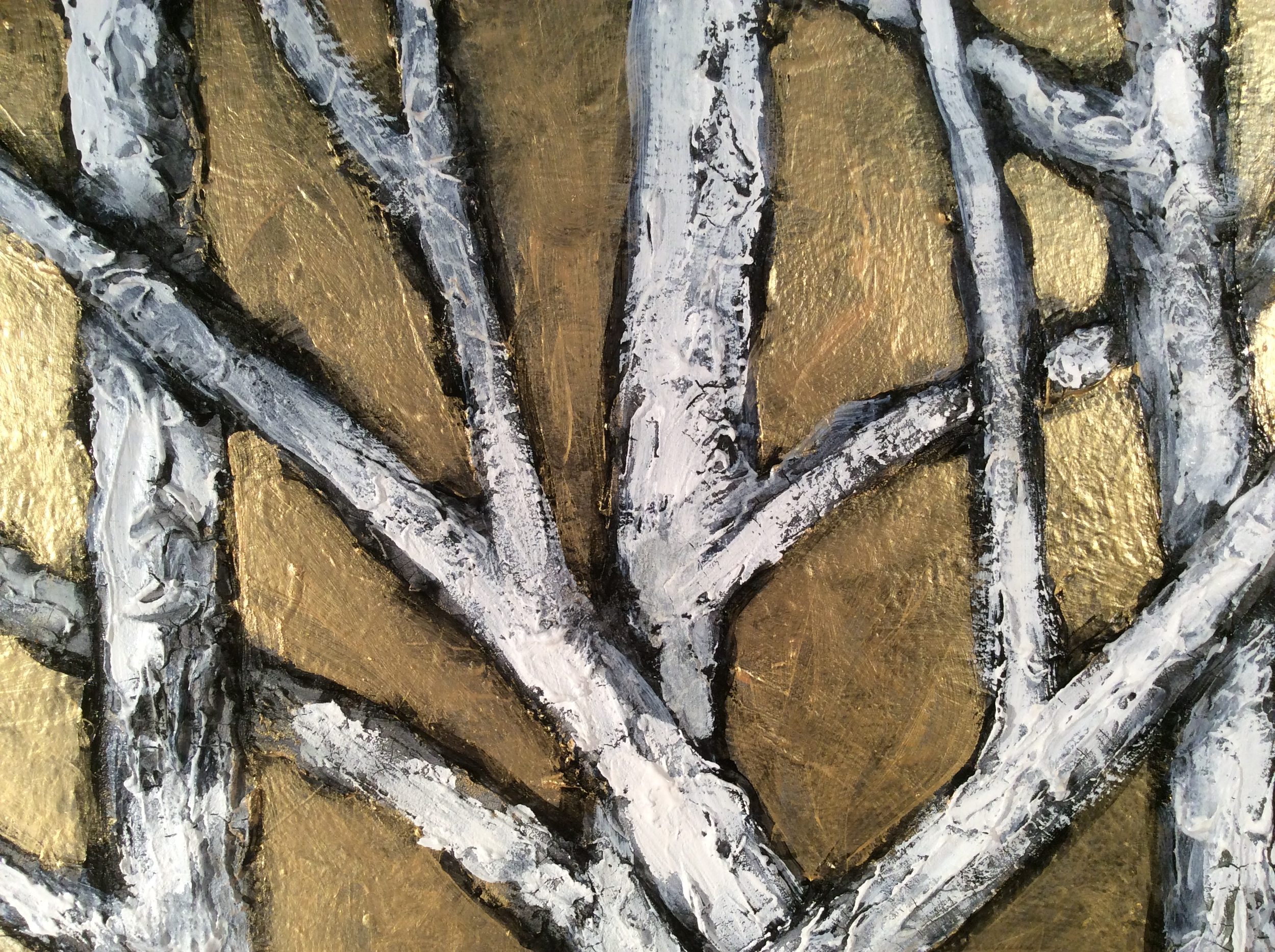 Birch Trees on Gold Sky, detail