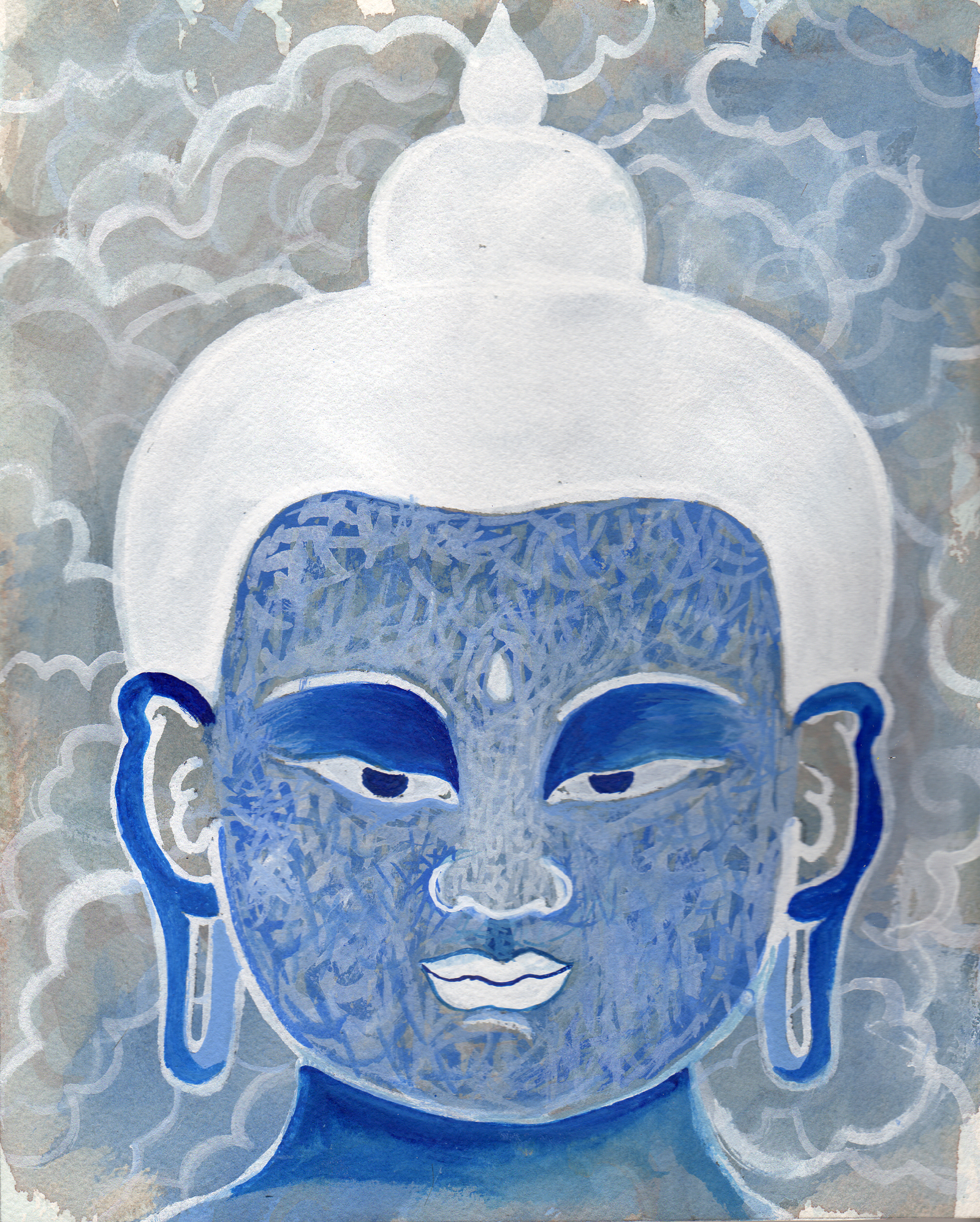 """Blue Cloud Buddha    Watercolor and Gouache on Paper 8"""" x 7"""" © 2012"""