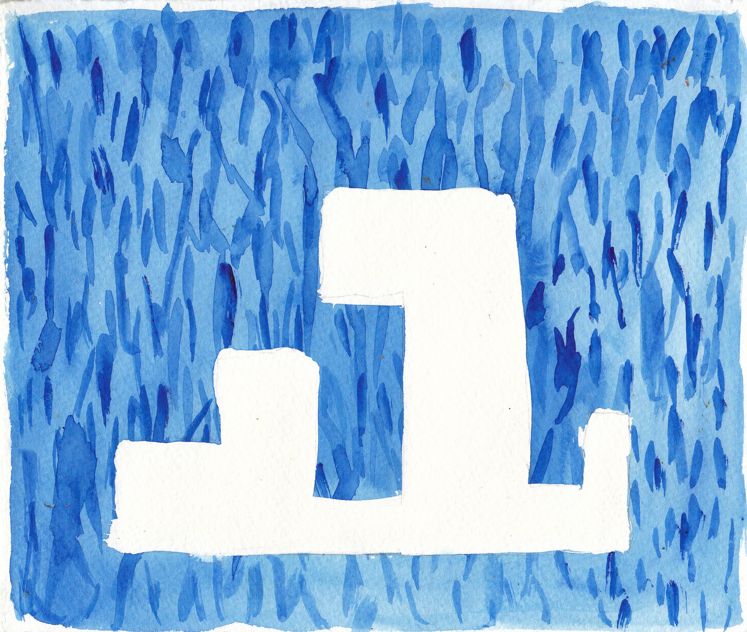 """la la la    Watercolor on Paper 8"""" x 12"""" © 2010    (Green Day Series, 2008-2011)"""