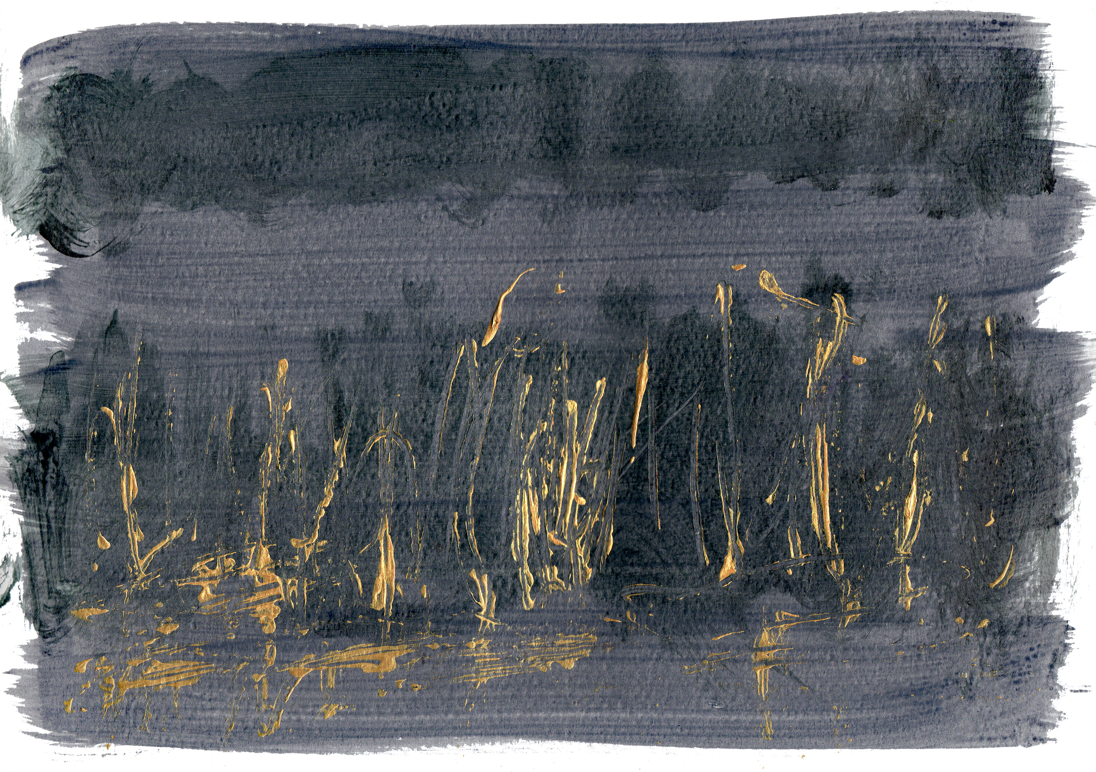 "Field of Reeds   Acrylic on Paper 8.5"" x 11.75"" © 2014"