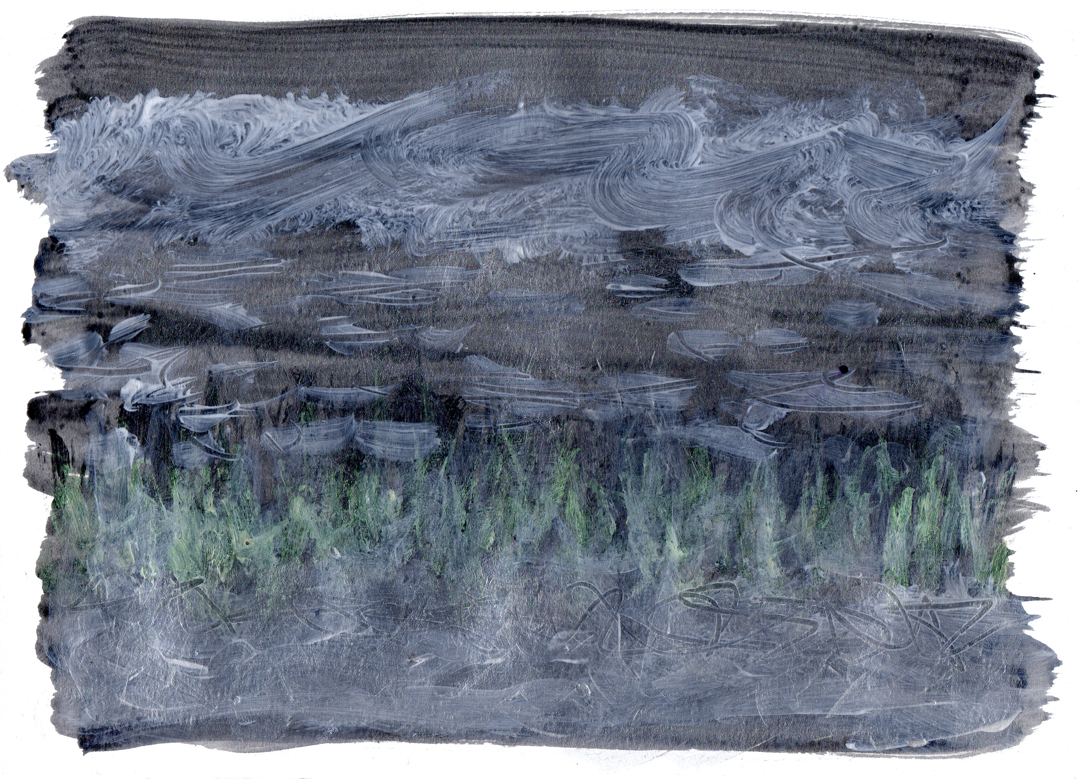 "river reeds   Acrylic on Paper 8.5"" x 11.75"" © 2014"