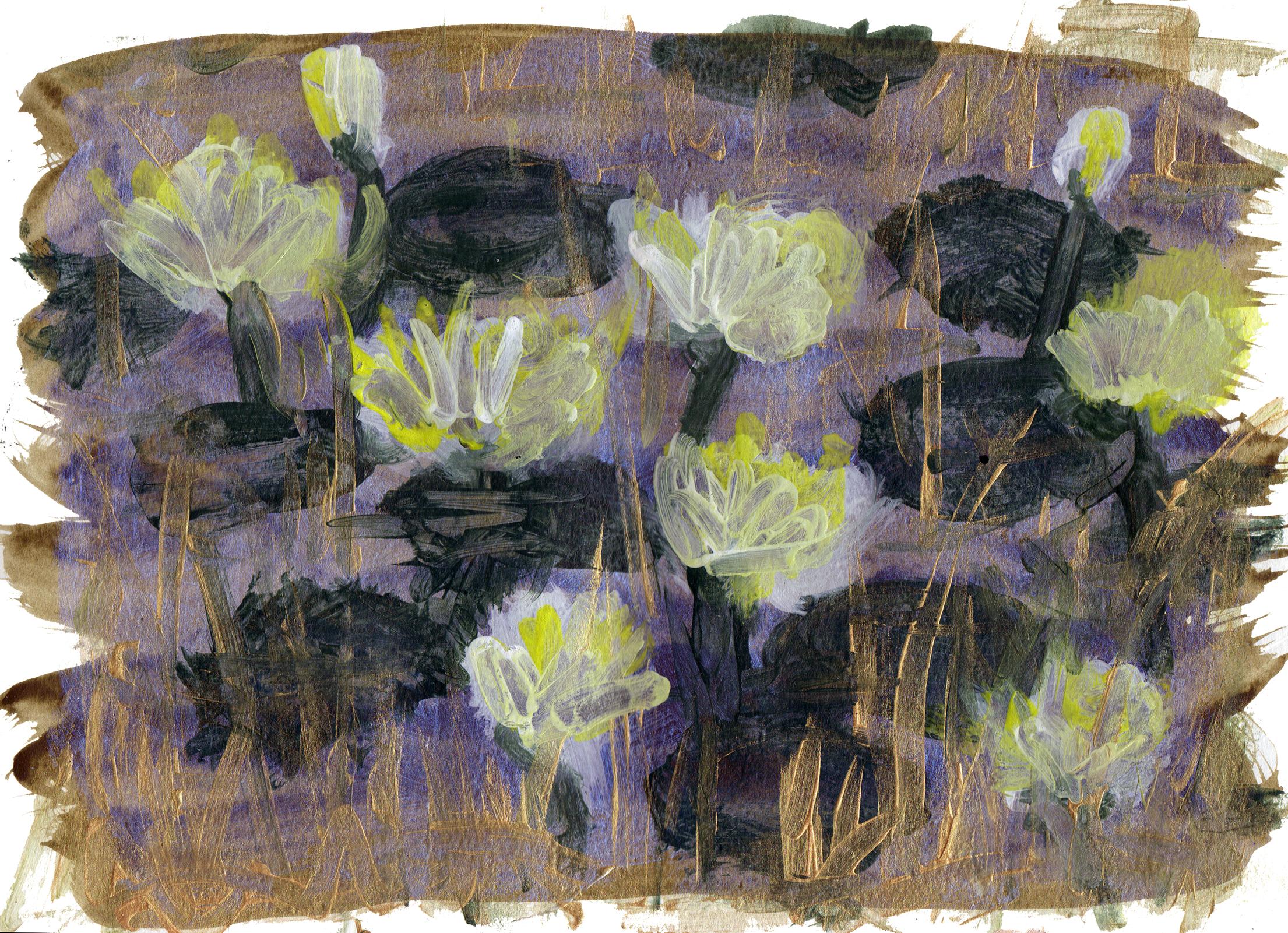 "Lily Pond 5   Acrylic on Paper 8.5"" x 11.75"" © 2014"