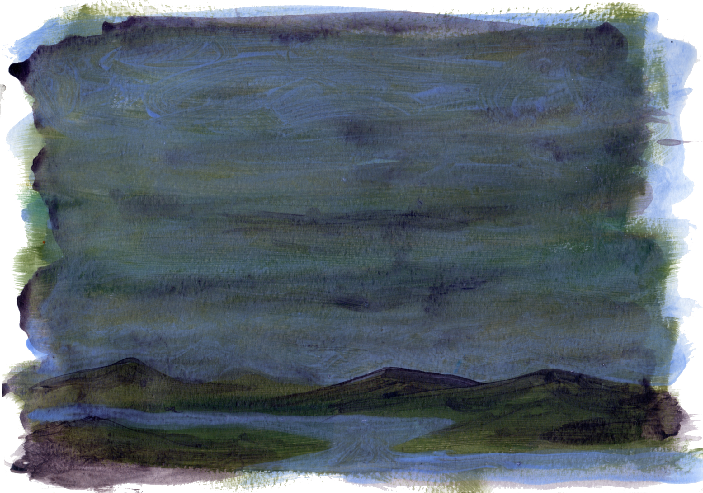 "earth and sky 3   Acrylic on Paper 8.5"" x 11.75"" © 2014"