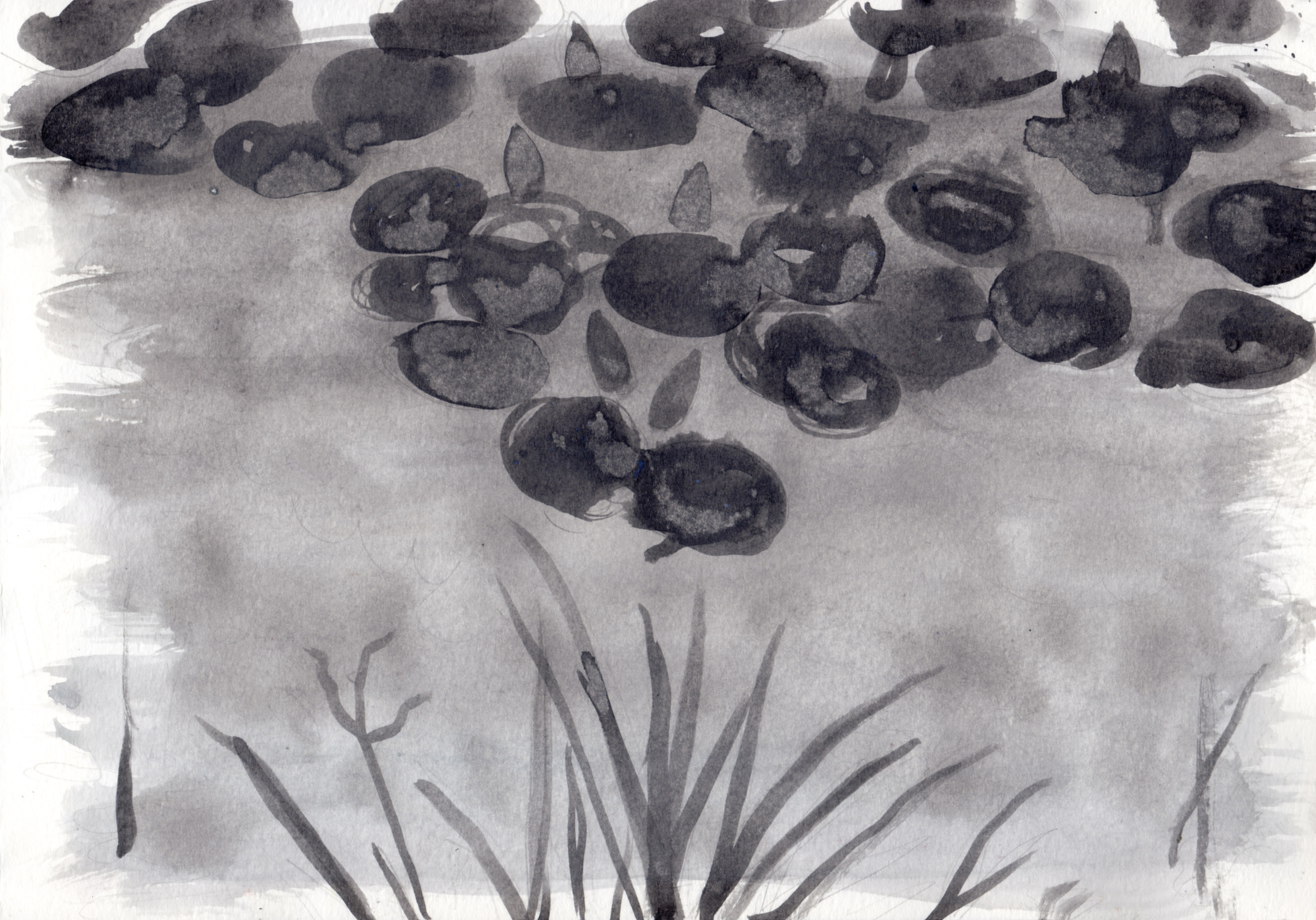 "lilypond in autumn   Acrylic on Paper 8.5"" x 11.75"" © 2014"