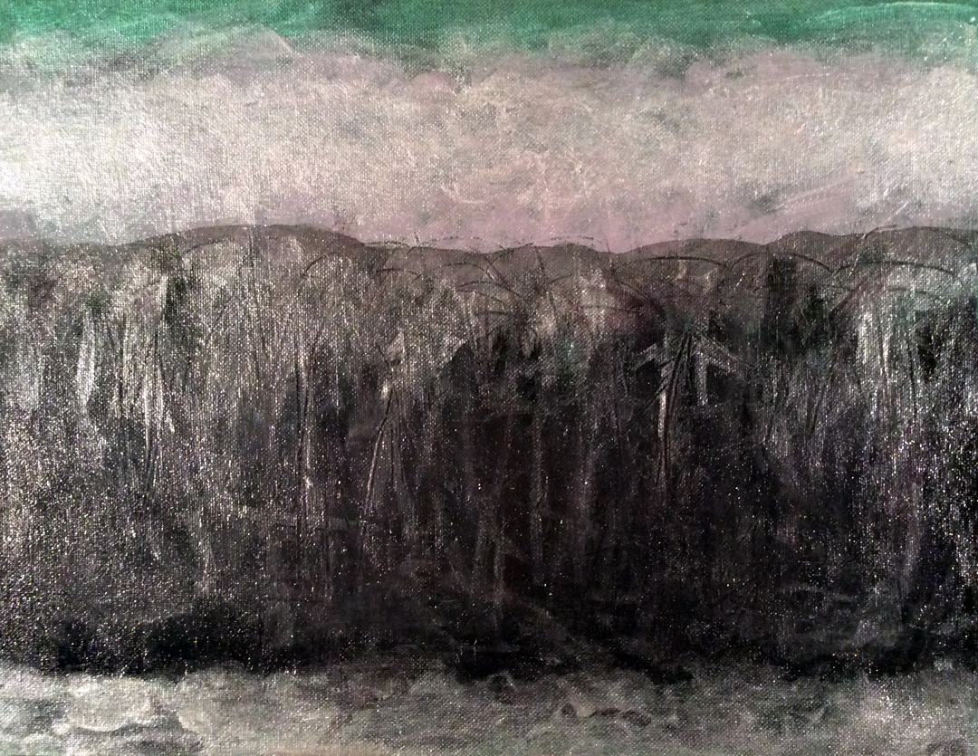 """Black Hill   Iridescent,Interference andAcrylic on Canvas 11"""" x 14""""  © 2014"""