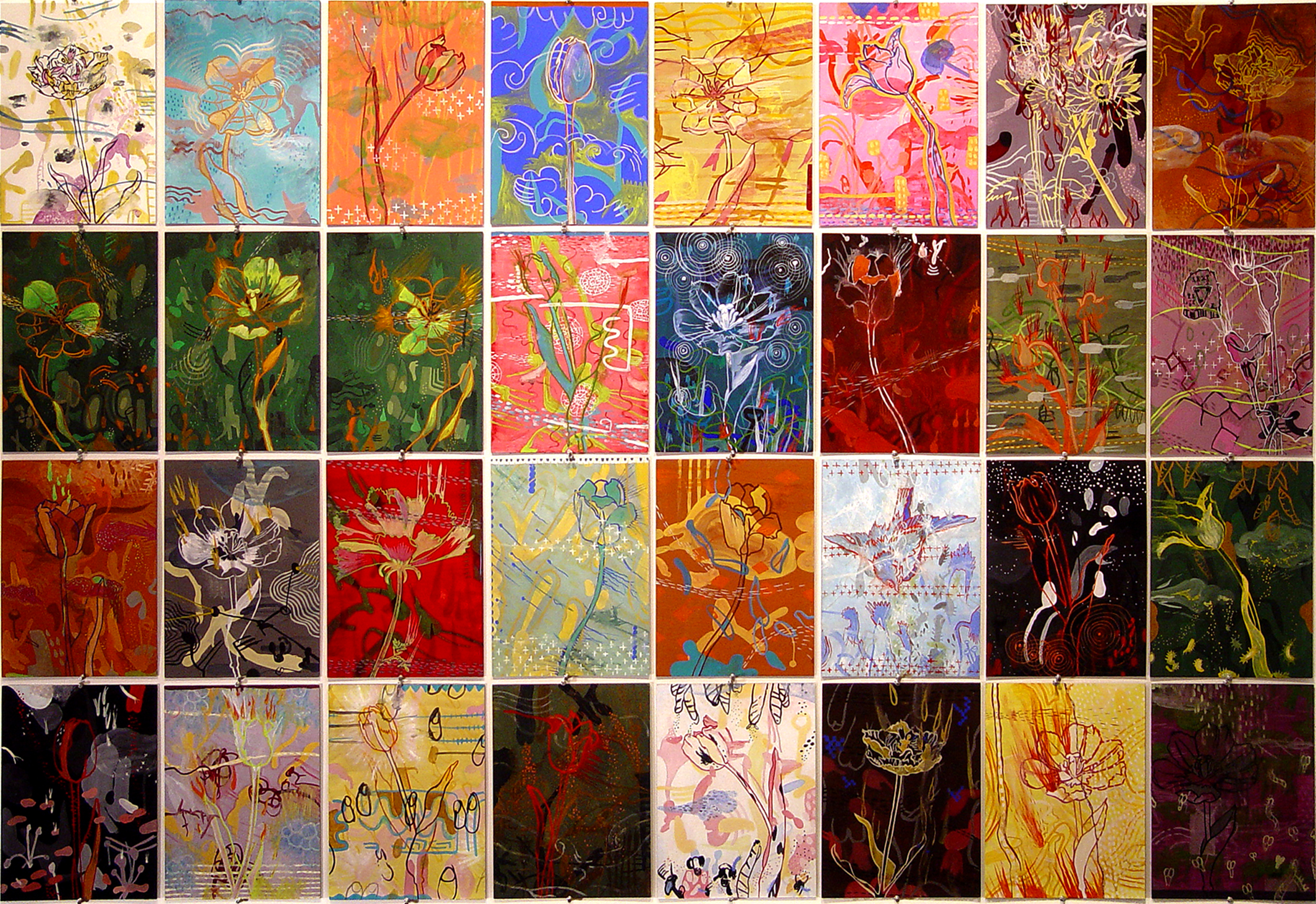 """Blood for Flowers    Gouache on Illustration Board 56"""" x 80"""" 2002"""