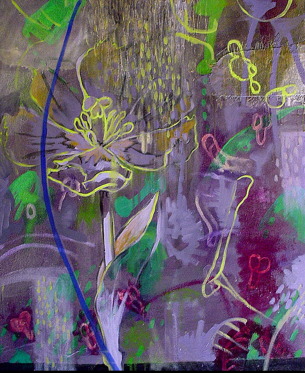 """Purple Tulip    Oil and Beeswax on Canvas 34"""" x 28"""" 2003"""
