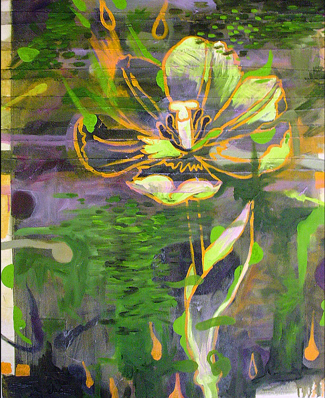 """Green Tulip    Oil and Beeswax on Canvas 34"""" x 28"""" 2003"""