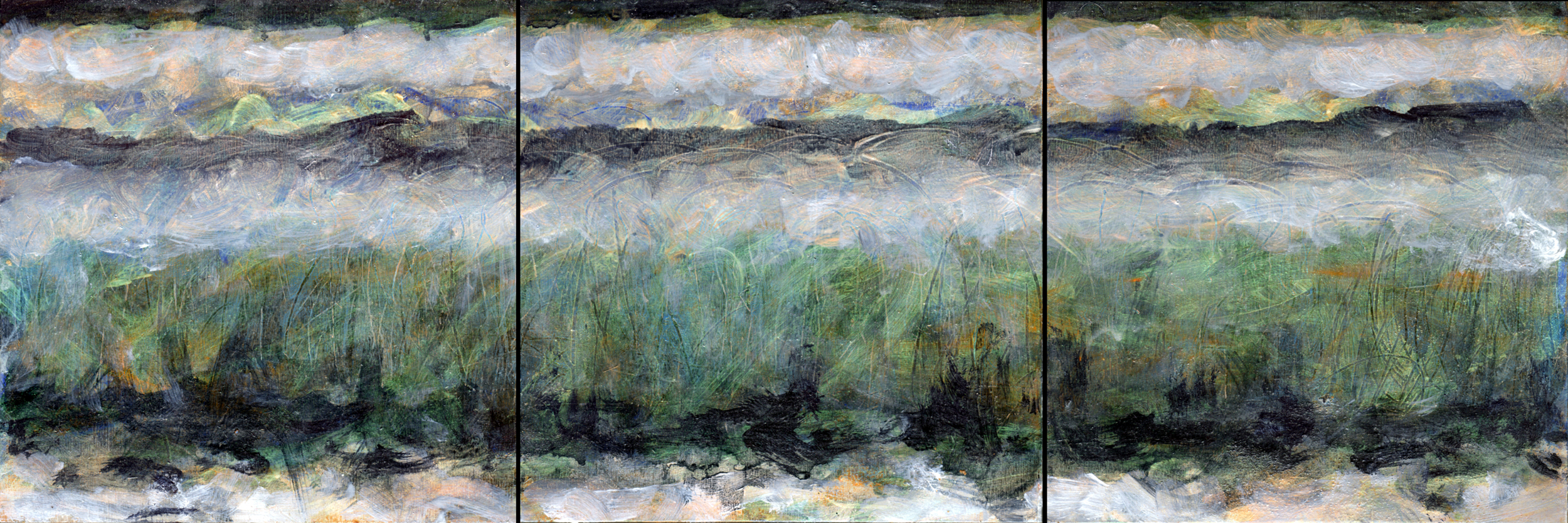 """Field of Reeds 9, Triptych 1   Iridescent,Interference andAcrylic on Canvas 8"""" x 24""""  © 2014"""