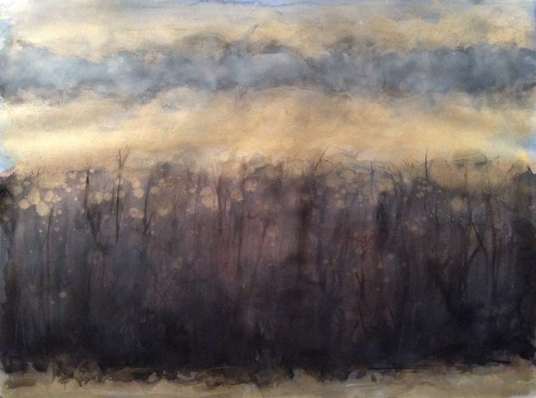 """Tanner Springs, Late Autumn   watercolor on paper 22"""" x 30"""" © 2014"""