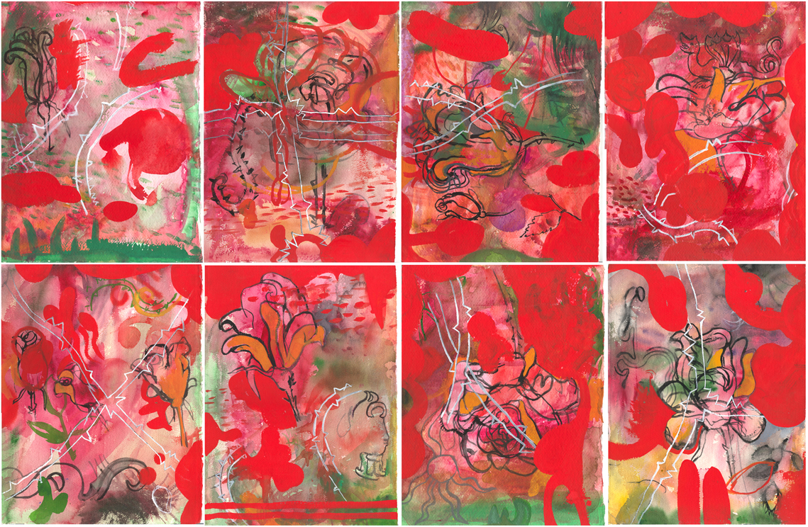 """The Roses   watercolor and gouache on 8 sheets of Arches 14"""" x 10"""" each sheet 28"""" x 40"""" total © 2003 SP"""