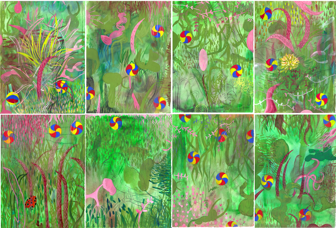 """Lawn   watercolor and gouache on 8 sheets of Arches 14"""" x 10"""" each sheet 28"""" x 40"""" total © 2003 SP"""