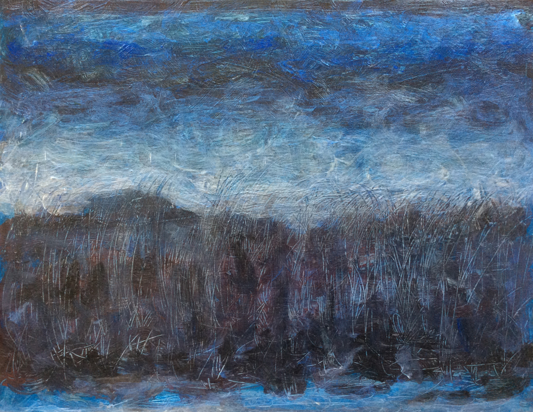 """Tanner Springs, Blue Evening   Iridescent,Interference andAcrylic on Canvas 11"""" x 14""""© 2014"""