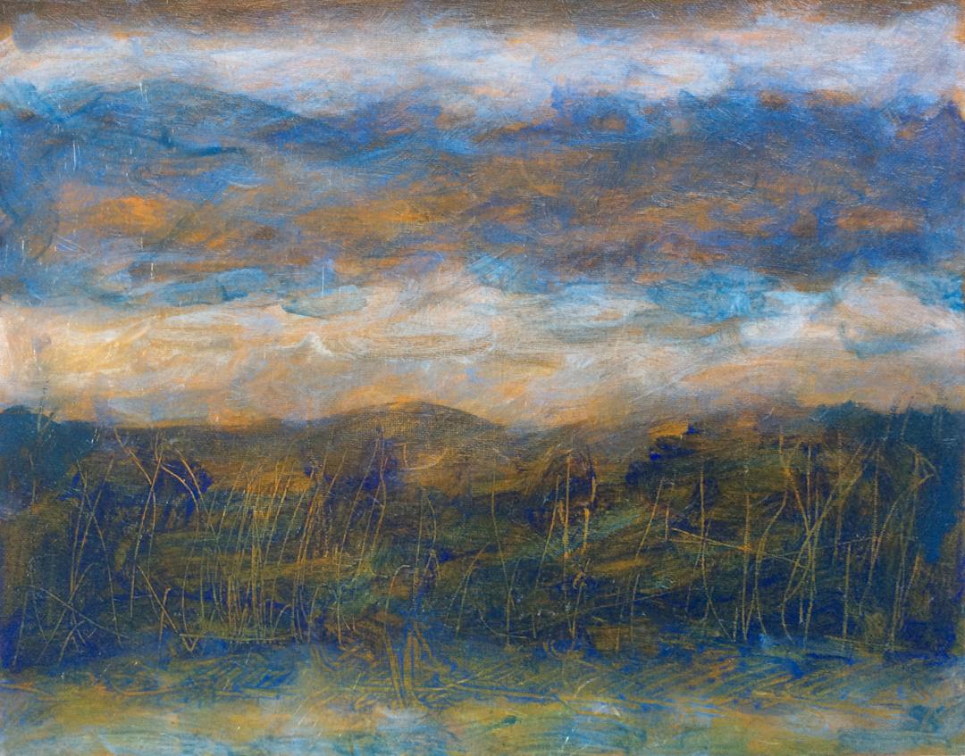 "Dark Hills, Evening   Iridescent,Interference andAcrylic on Canvas 11"" x 14""© 2014"