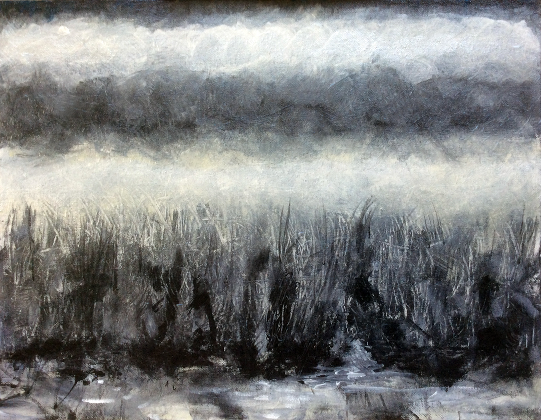 """Tanner Springs, Grey   Iridescent,Interference andAcrylic on Canvas 11"""" x 14""""© 2014"""
