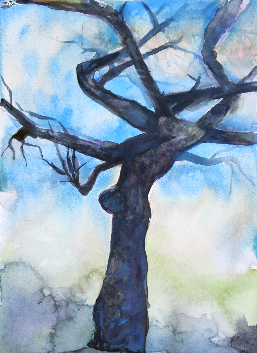"Cherry Tree, Ronin: Japantown, Winter, Portland, OR   Watercolor on 140# Arches WC Paper 14"" x 10""  © 2015"