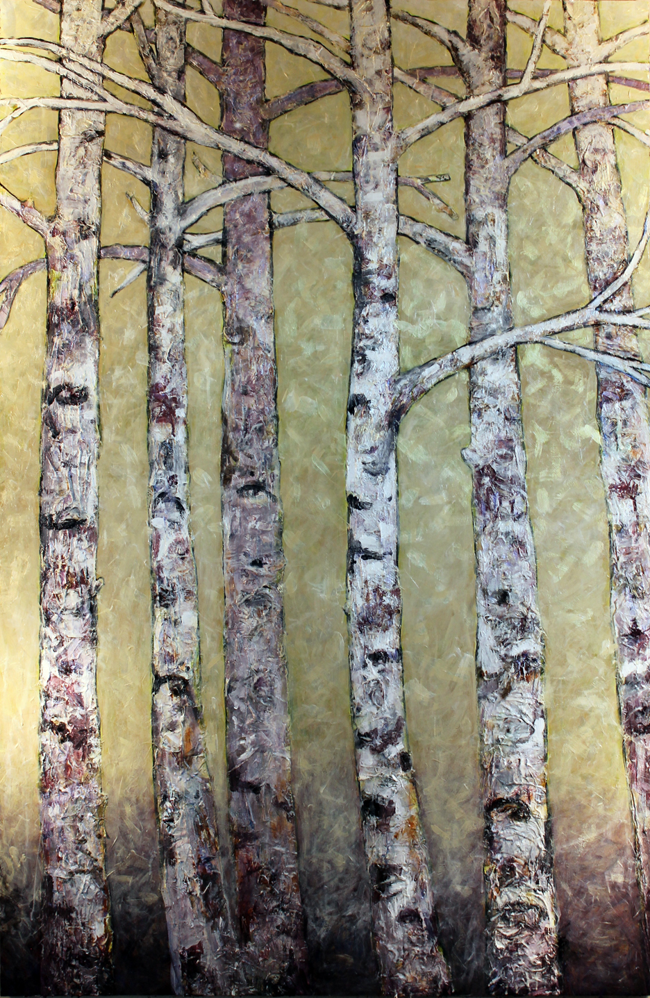 "Tree Family, Birch Trees on 0530 Metro   Acrylic on Cradled Wood Panels 76"" x 48"" 2015 Private Collection"
