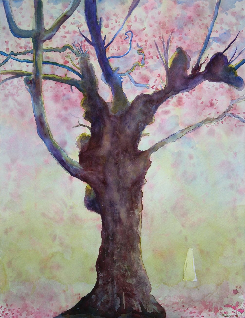 "Ronin: Japantown Cherry Tree  Watercolor on 140# Arches WC Paper 30"" x 22""  © 2015"