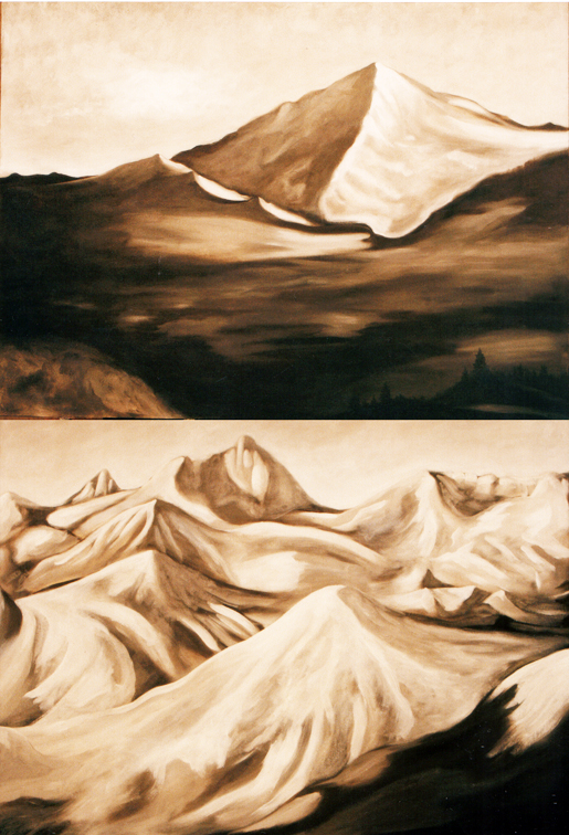 """Colorado Mountains  Oil and Beeswax on Canvas 24"""" x 36"""" each ©1998"""