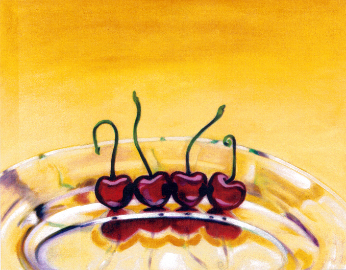 """Four Cherries, Bodegones  Oil and Beeswax on Canvas 24"""" x 30"""" © 1998"""