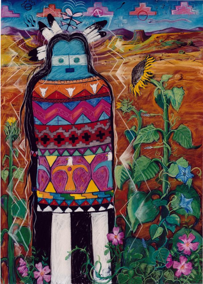 """Garden Kachina  Pastel on BFK Rives 40"""" x 29.5"""" © 1992. Steven Plount"""