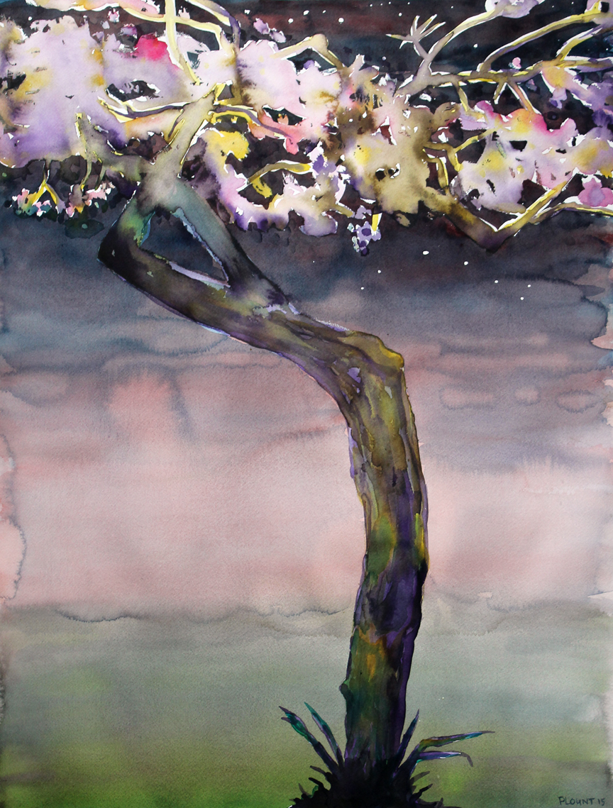 "Ronin: Japantown Cherry Tree and Constellation  Watercolor on 140# Arches WC Paper 30"" x 22""  © 2015"