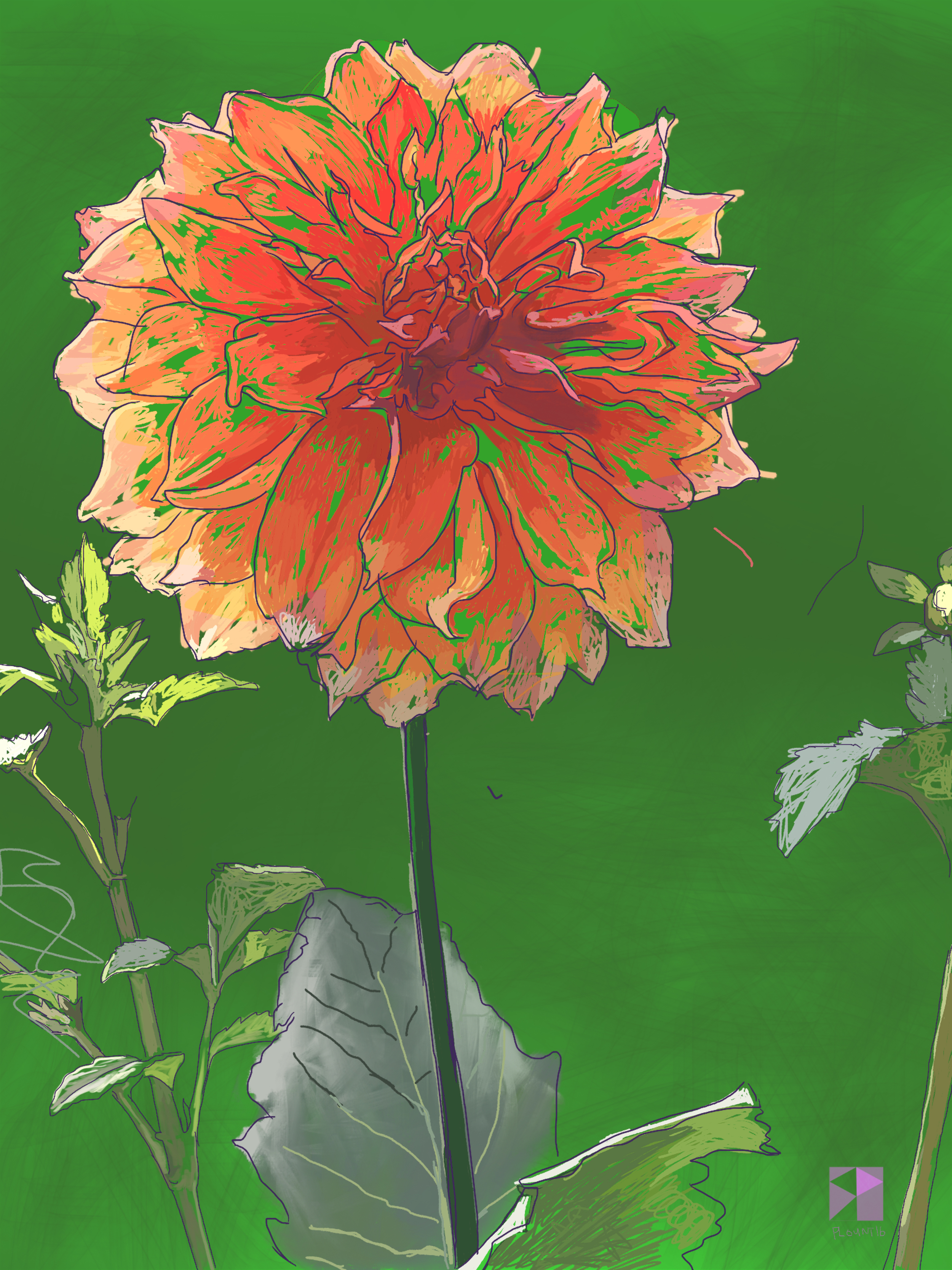 "Dahlia Number 2, Academy of Fine Art, Kolkata   Electronics Painting, iPad, Procreate, Pencil 53,  Photoshop. © 2016 dimensions variable to 48"" x 60""  giclee limited edition prints available contact the artist"