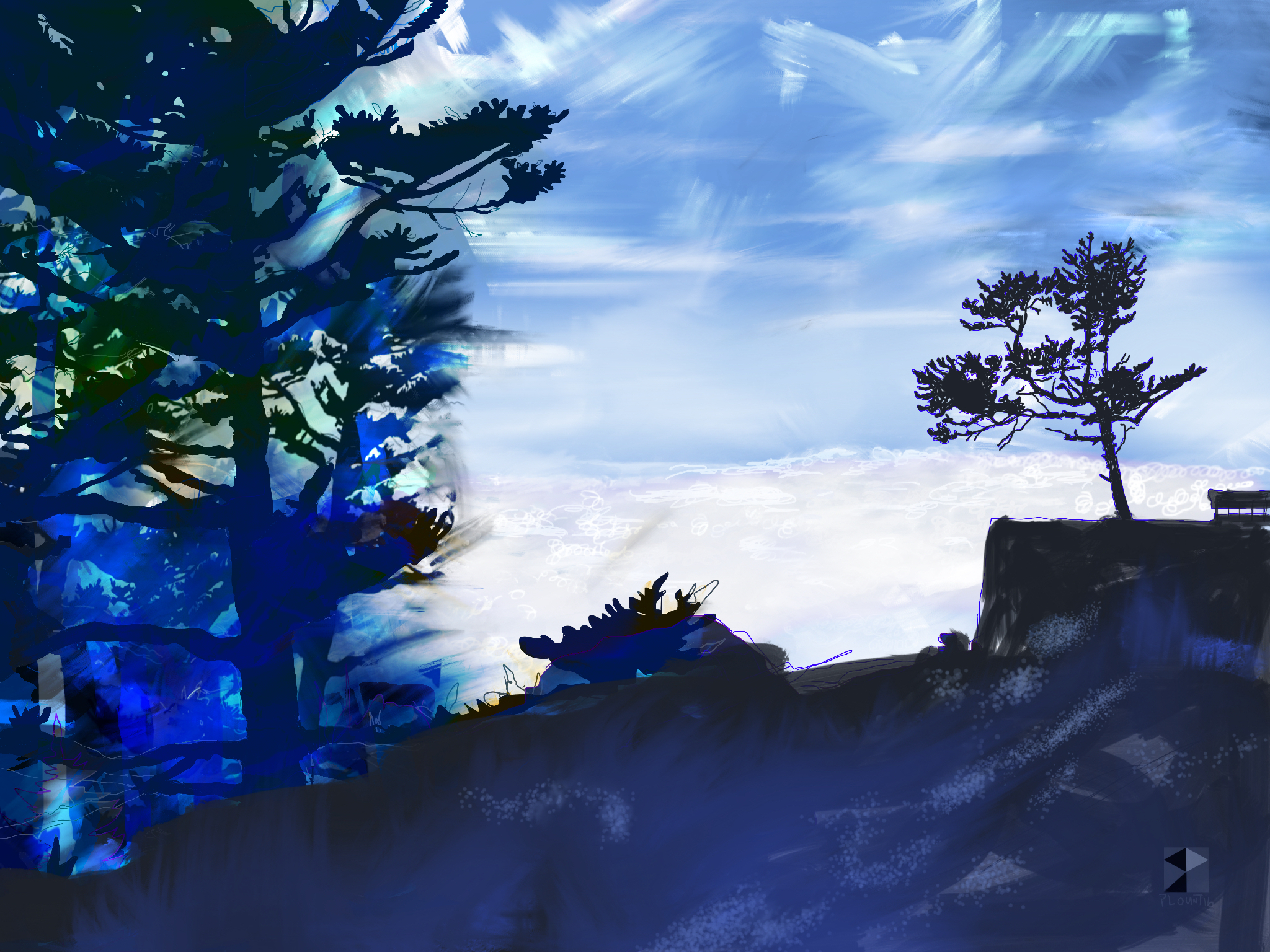 """A light dusting of snow, Sandhakphu, West Bengal, India, Bharat    Electronics Painting, iPad, Procreate, Pencil 53, Photoshop. © 2016 dimensions variable to 48"""" x 60"""" giclee limited edition prints available contact the artist"""