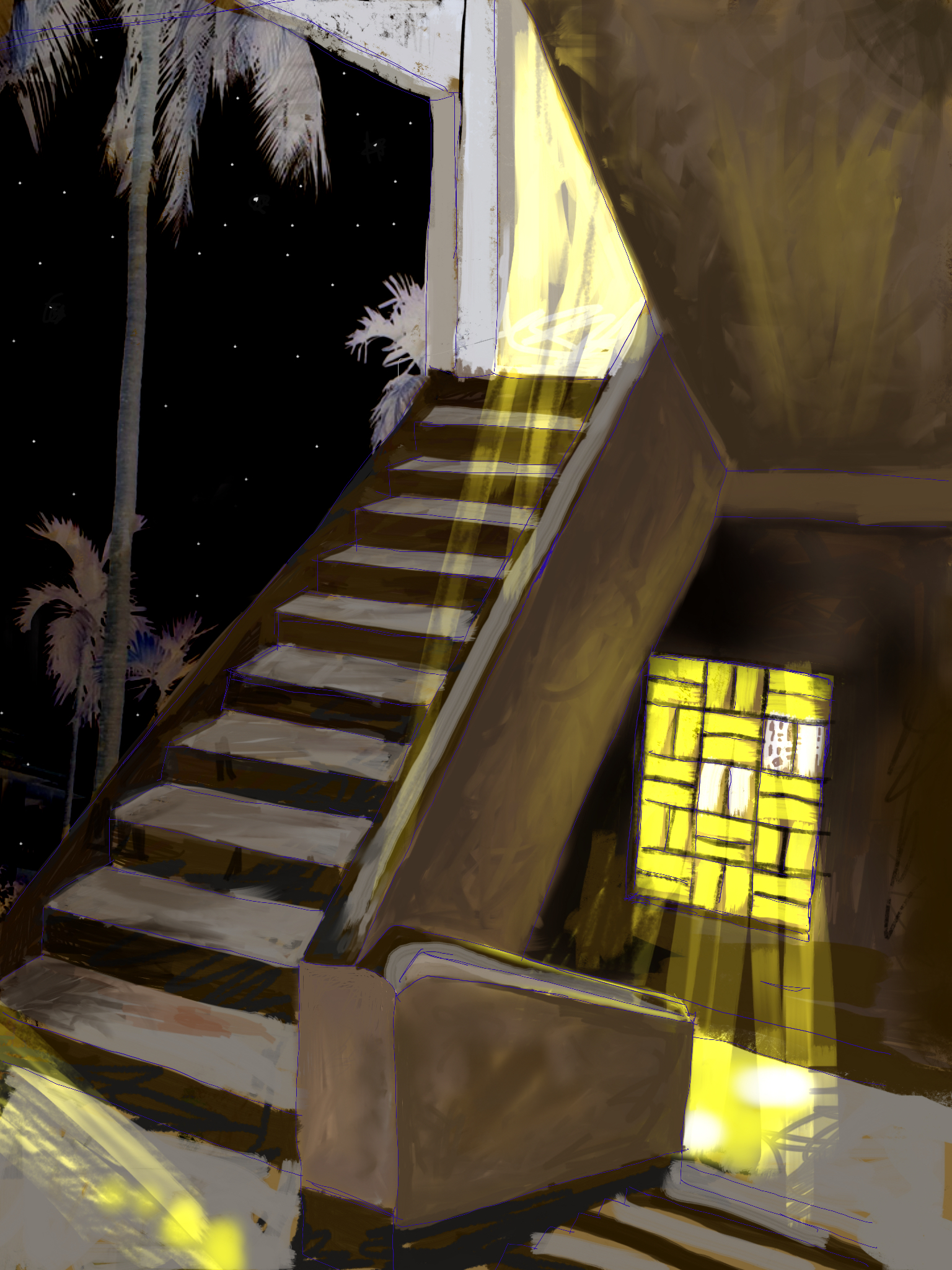 """Stairs to the Temple Room, Home, Baguiati   Electronics Painting, iPad, Procreate, Pencil 53, Photoshop. © 2016 dimensions variable to 48"""" x 60"""" giclee limited edition prints available contact the artist"""
