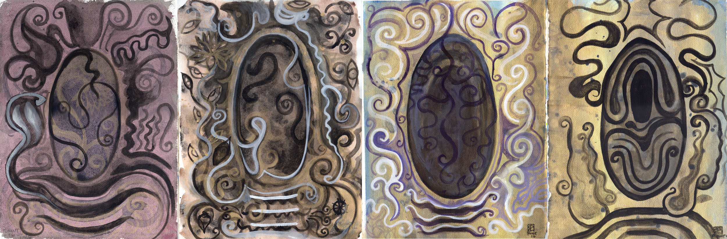 "Shaligrama/Shivlinga/Black Rocks  watercolor, metallics on Arches with canvas strips and PVA 15"" x 44""  © 2016"