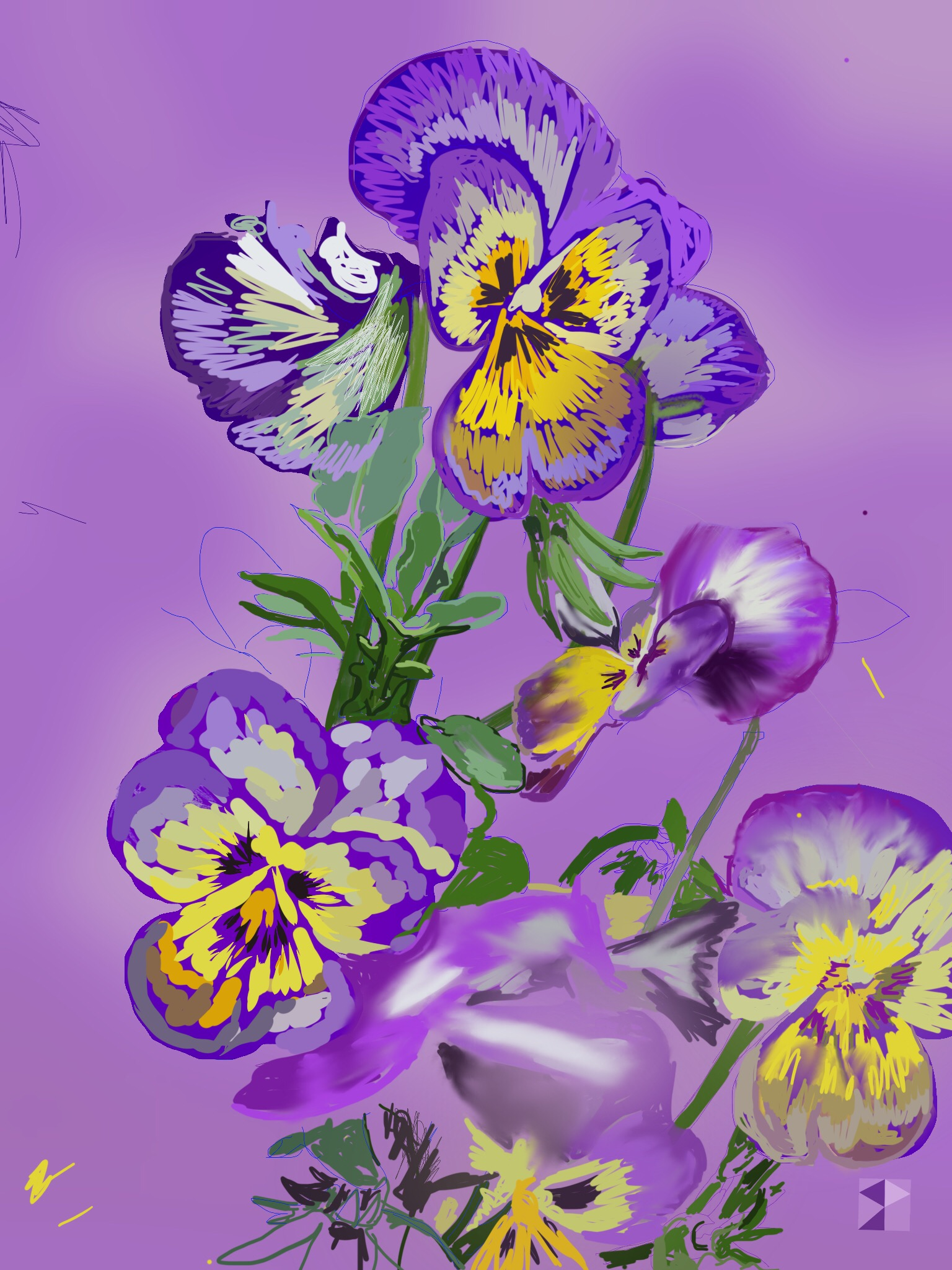 "Pansies   Electronics Painting, iPad, Procreate, Pencil 53,  Photoshop. © 2016 dimensions variable to 48"" x 60""  giclee limited edition prints available contact the artist"