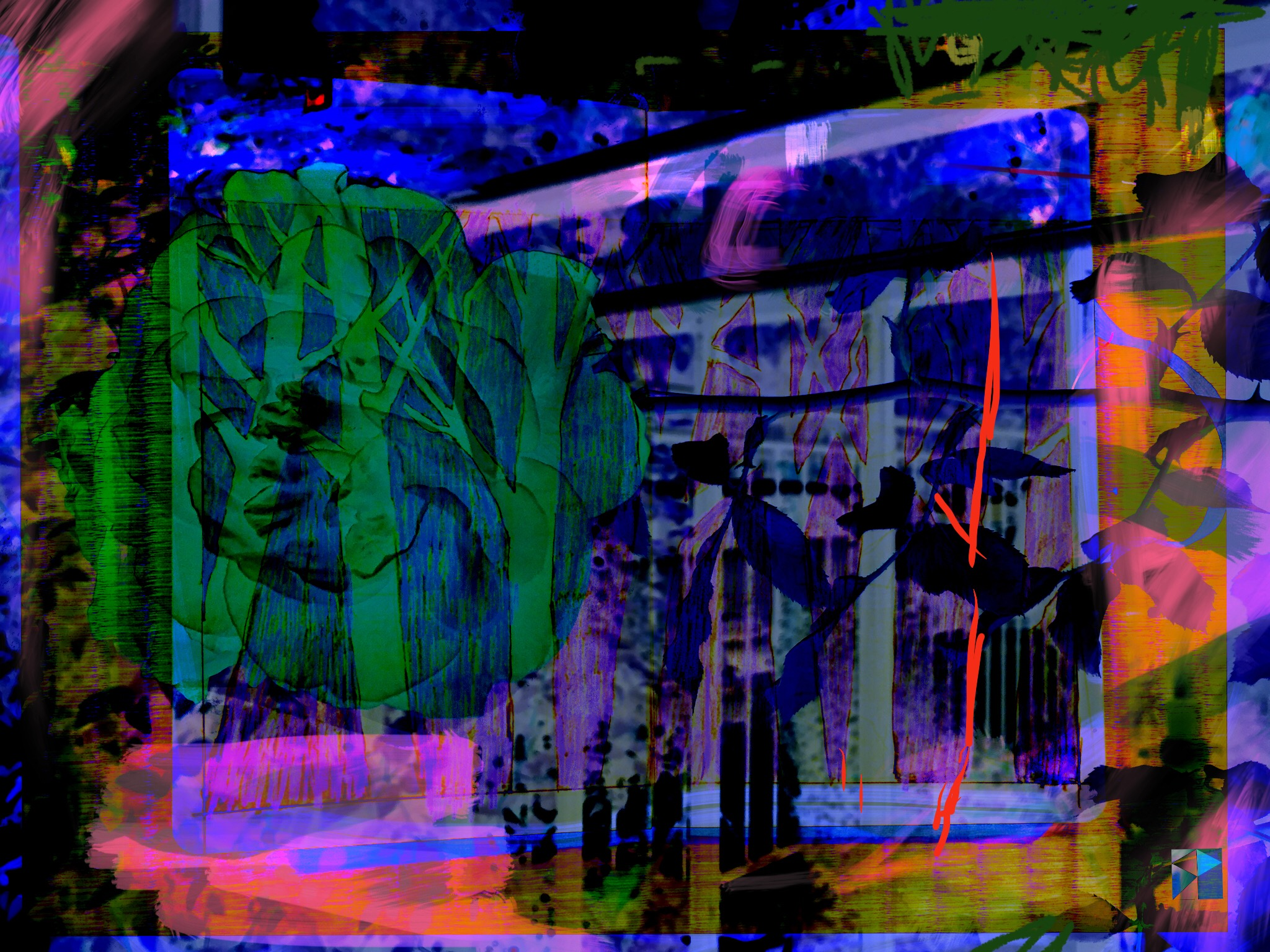 """Rose Forest   Electronics Painting, Sketchbook Scan, iPad, Procreate, Pencil 53, Photoshop. © 2016 dimensions variable to 48"""" x 60"""" giclee limited edition prints available contact the artist"""