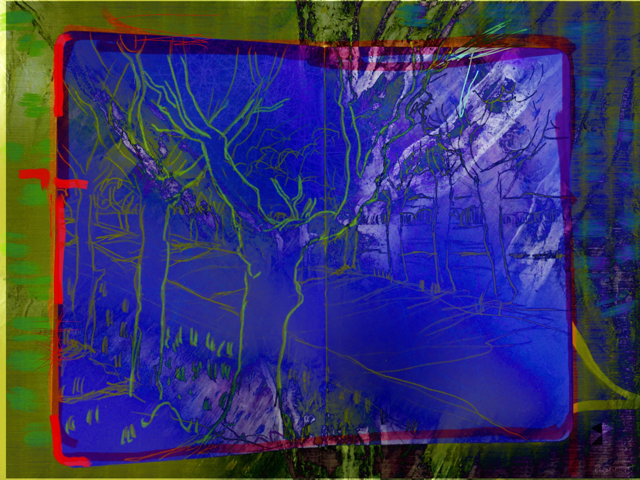 """Vincent's Road   Electronics Painting, Sketchbook Scan, iPad, Procreate, Pencil 53, Photoshop. © 2016 dimensions variable to 48"""" x 60"""" giclee limited edition prints available contact the artist"""