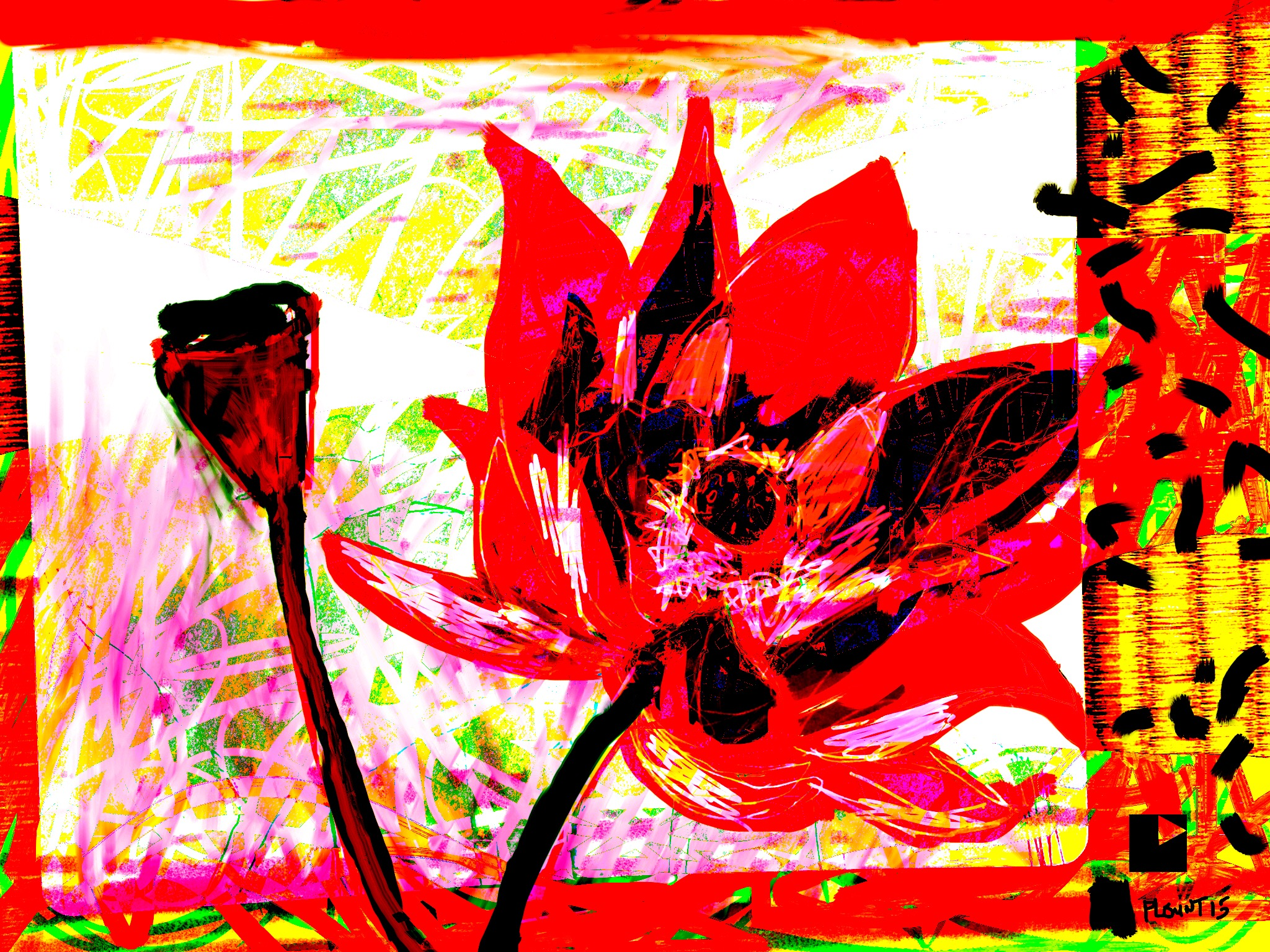 """Red Lotus   Electronics Painting, Sketchbook Scan, iPad, Procreate, Pencil 53, Photoshop. © 2016 dimensions variable to 48"""" x 60"""" giclee limited edition prints available contact the artist"""