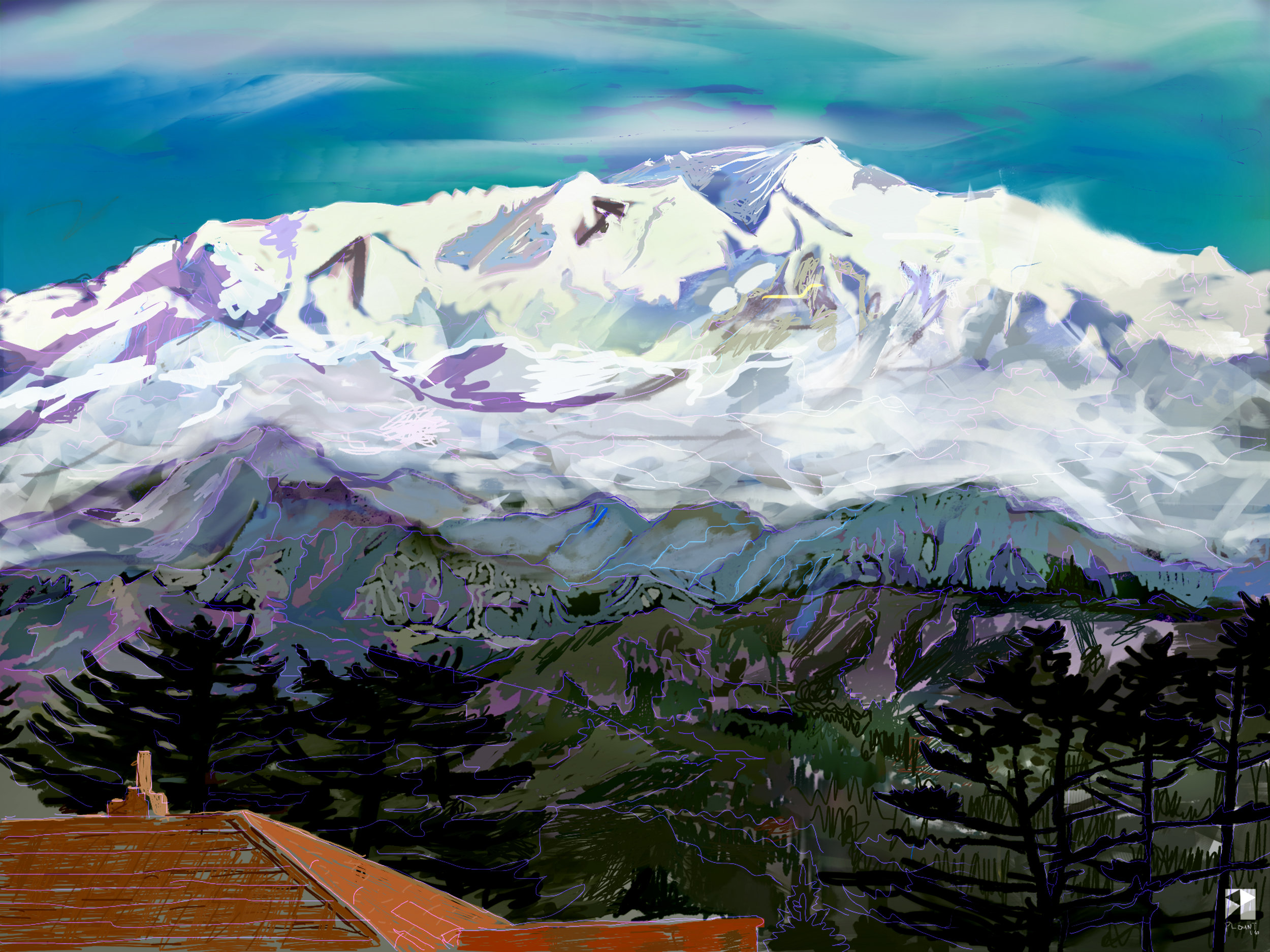 """Kanjunjungha from Sandhakphu,West Bengal, India, Bharat   Electronics Painting, iPad, Procreate, Pencil 53, Photoshop. © 2016 dimensions variable to 48"""" x 60"""" giclee limited edition prints available contact the artist"""