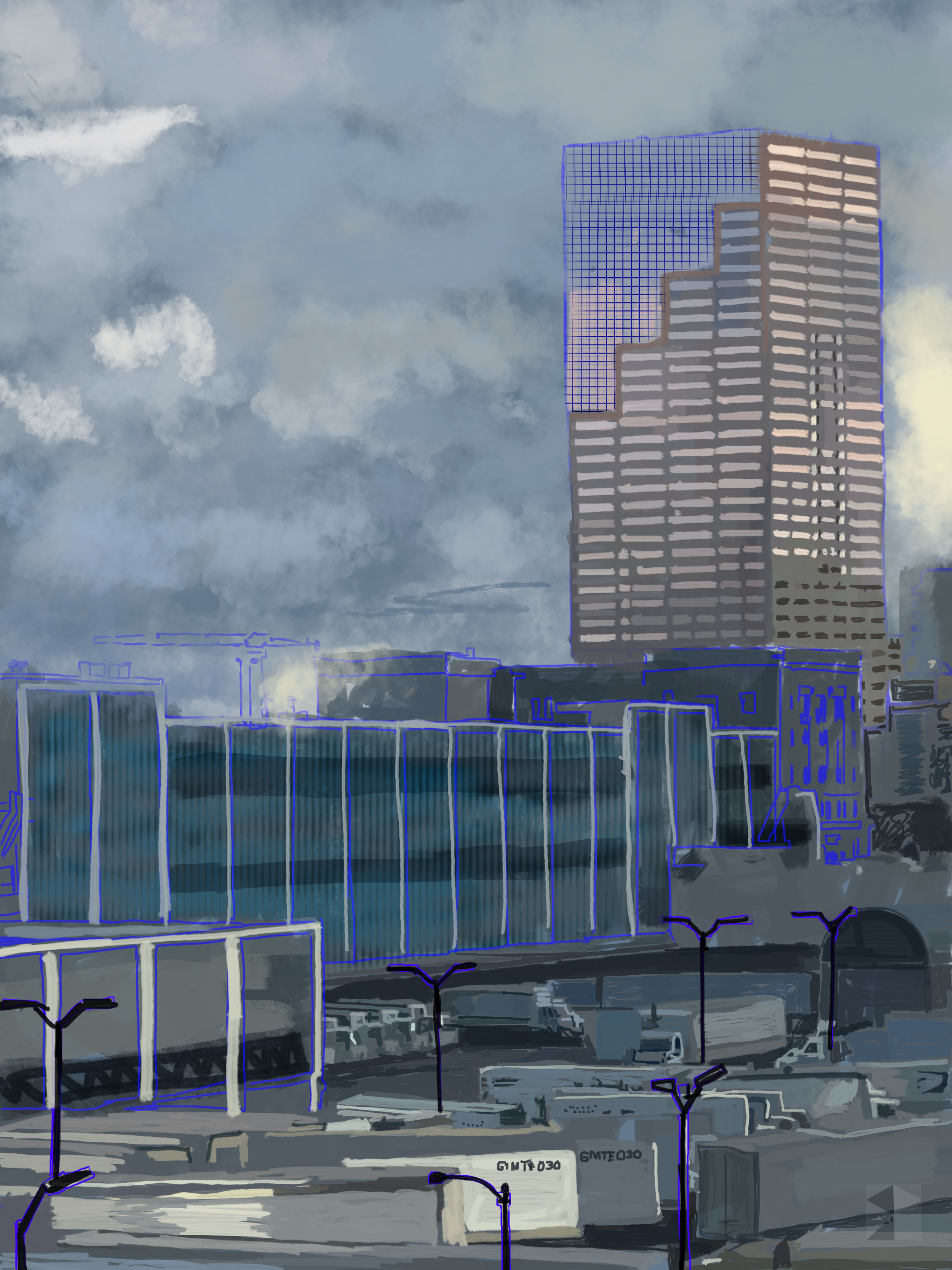 """Big Pink and Post Office Yard, View from My Window, Mid-afternoon. Portland, Oregon.   Electronics Painting, iPad, Procreate, Pencil 53, Photoshop. © 2017 dimensions variable to 30"""" x 40"""" giclee limited edition (25)prints available contact the artist"""