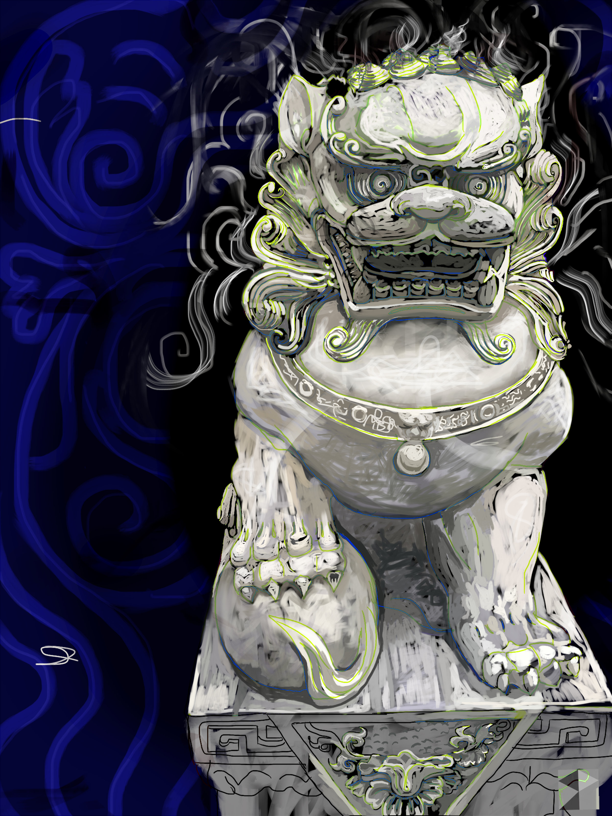 "Foo Dog, Pearl District, Portland, Oregon.    Electronics Painting, iPad, Procreate, Pencil 53,  Photoshop. © 2016 dimensions variable to 30"" x 40""  giclee limited edition (25) prints available contact the artist"