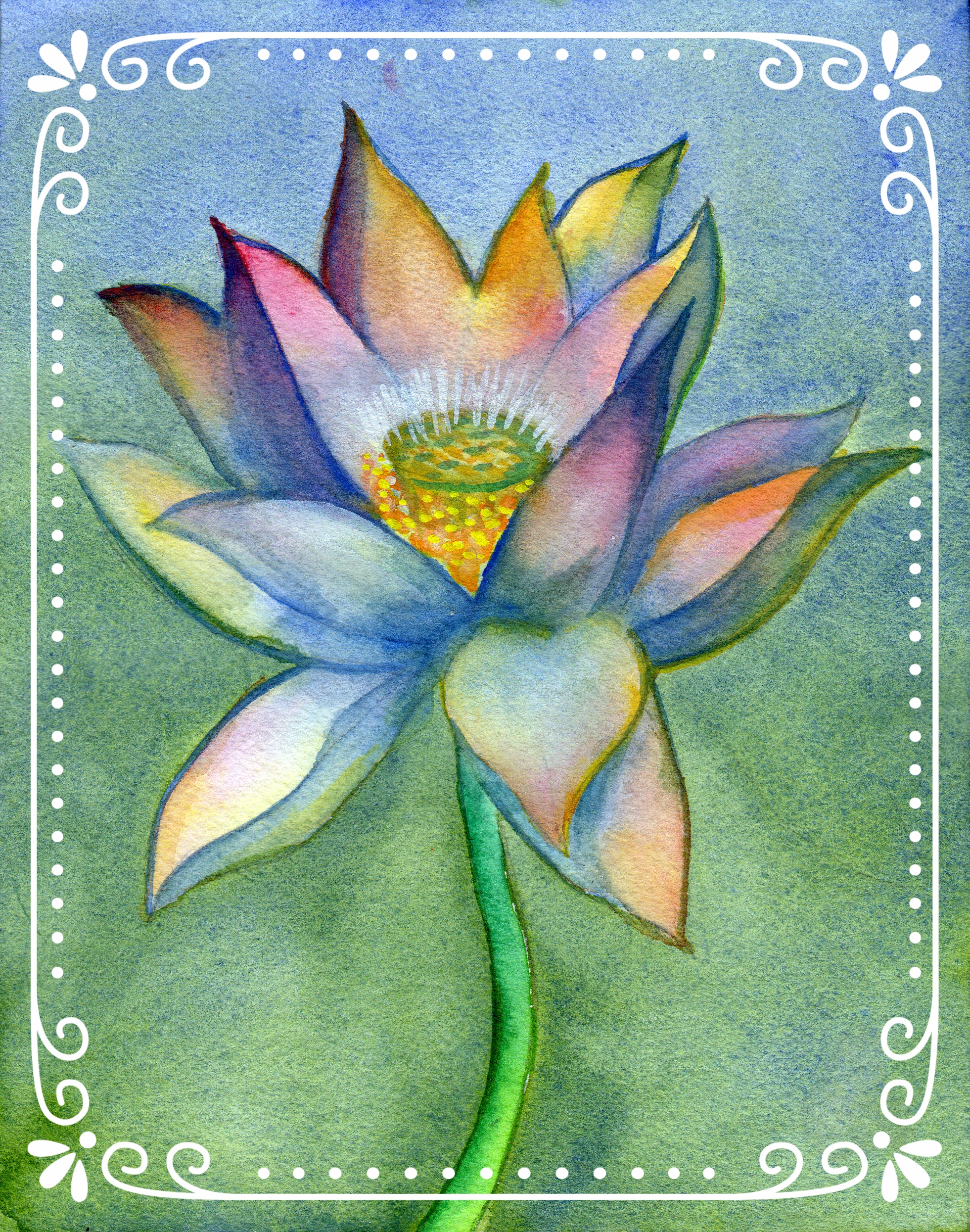 """Lotus 1    Watercolor on Arches 140# WC Paper 7.25"""" x 6.5"""" each (1 - 40 >>>>> all following)"""