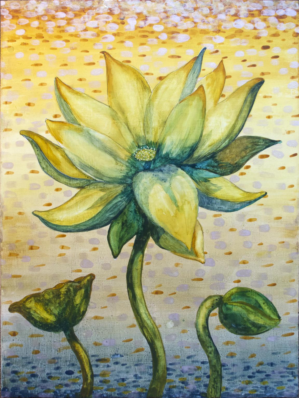 """Lotus, Number 1, Series 2    Watercolor on wood 24"""" x 18"""" (60.96cm x 45.72cm) © 2017"""