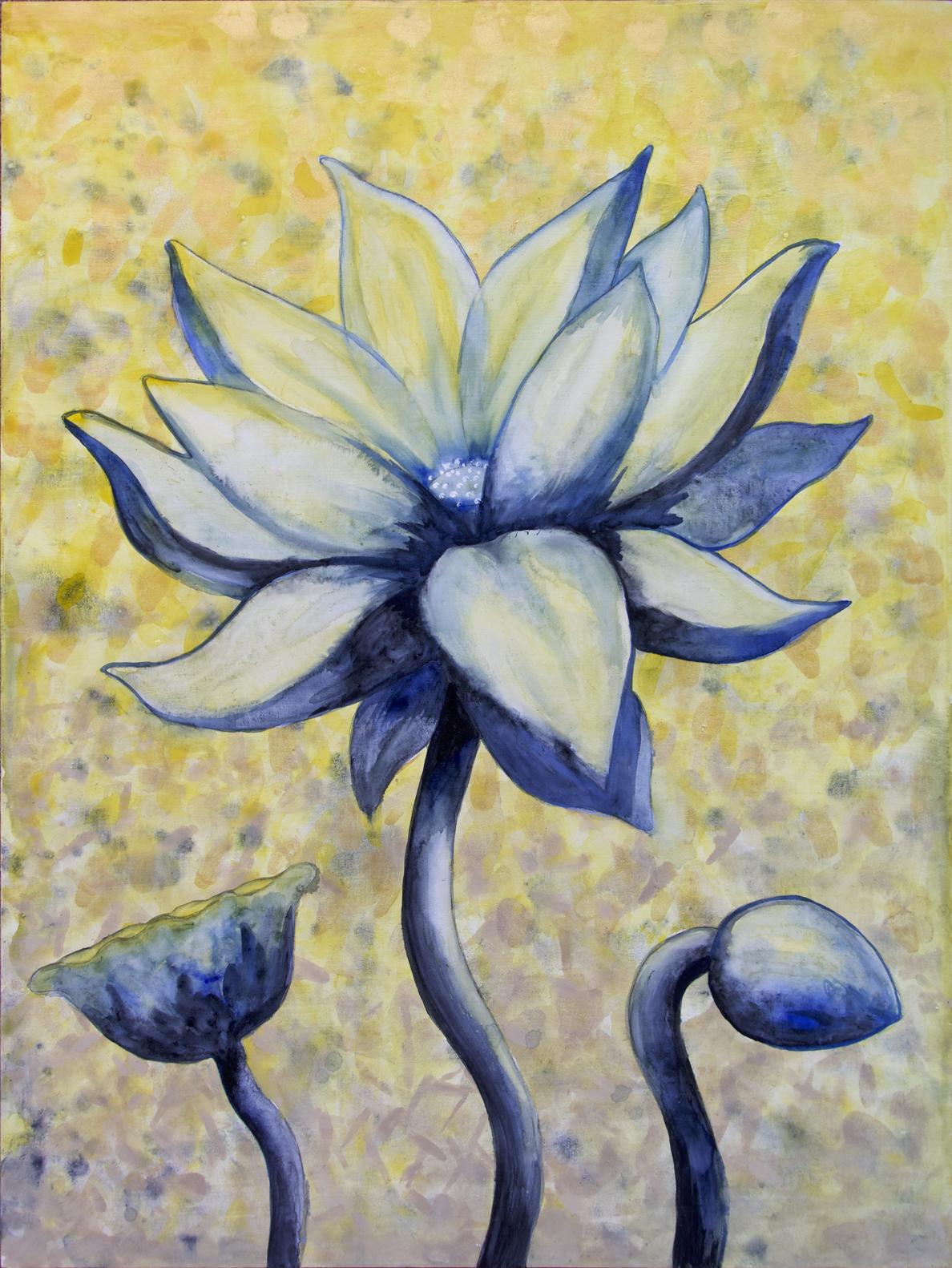 """Lotus, Number 2, Series 2    Watercolor on wood 24"""" x 18"""" (60.96cm x 45.72cm) © 2017"""