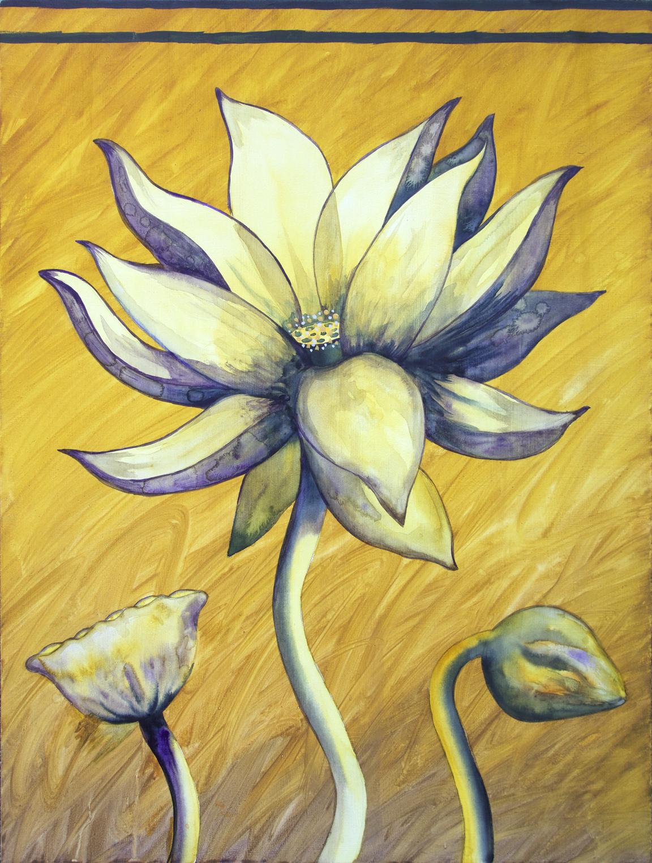 """Lotus, Number 7, Series 2    Watercolor on wood 24"""" x 18"""" (60.96cm x 45.72cm) © 2017"""