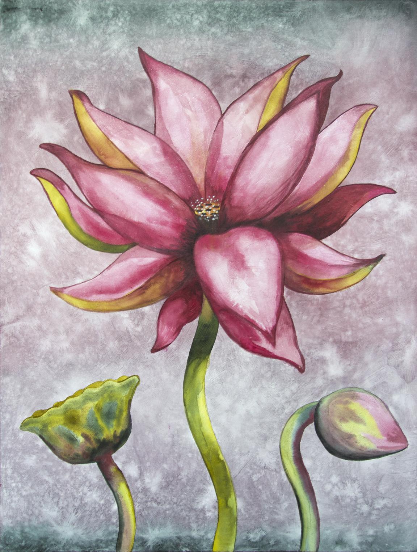 """Lotus, Number 5, Series 2    Watercolor on wood 24"""" x 18"""" (60.96cm x 45.72cm) © 2017"""