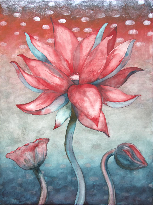 """Lotus, Number 6, Series 2    Watercolor on wood 24"""" x 18"""" (60.96cm x 45.72cm) © 2017"""
