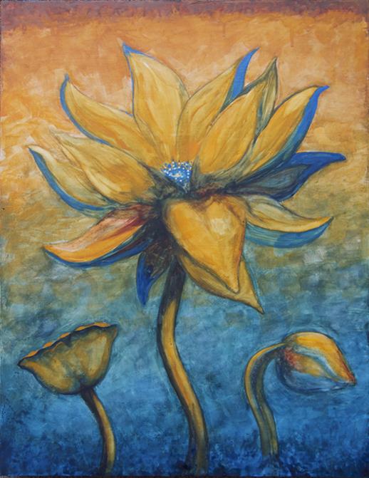 """Lotus, Number 3, Series 2    Watercolor on wood 24"""" x 18"""" (60.96cm x 45.72cm) © 2017"""
